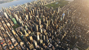 Over New York displaying the 3D buildings and ground terrain with Central Park at the top of the image.