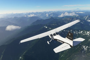 Cessna flying over mountains.