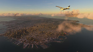 Dusk over a city in a Cessna.