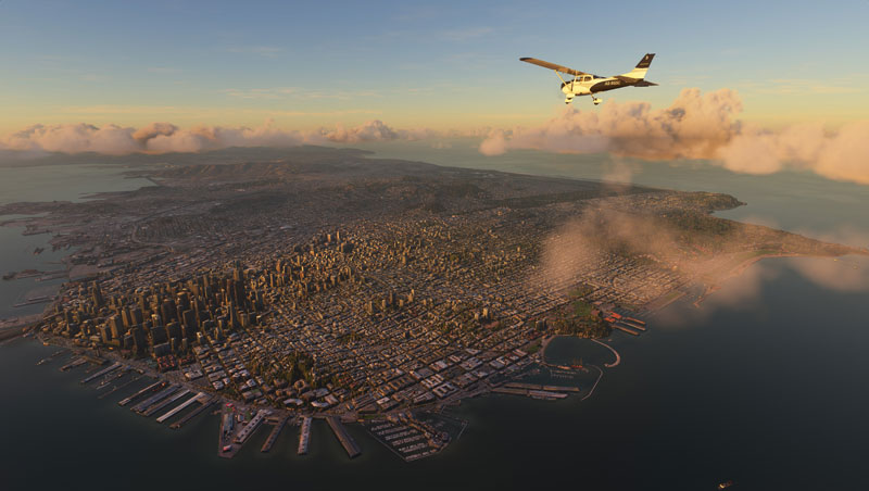 Cessna flying over cityscape with highly detailed clouds on the horizon.