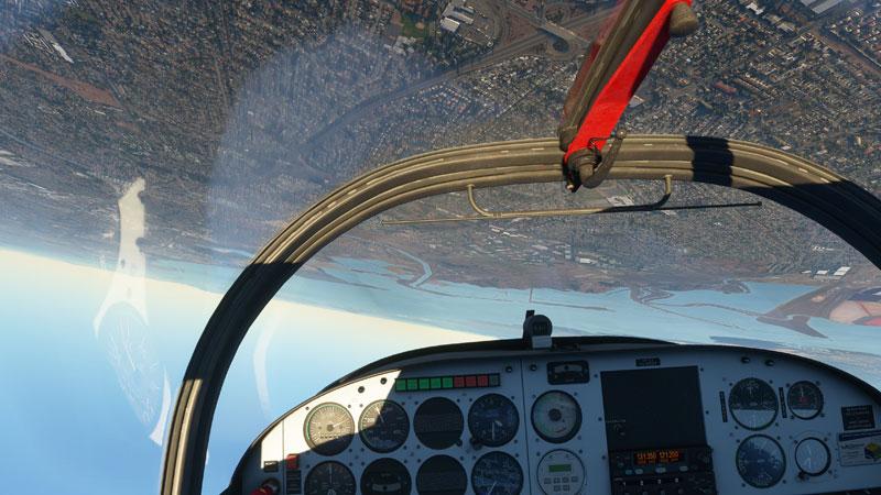 Upside-down in the flight sim.