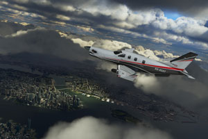 Socata TBM 930 with stunning cloud representation.