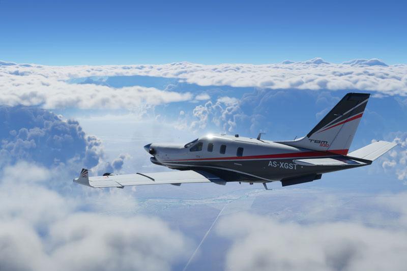 Socata TBM high in the clouds demonstrated in the pre-alpha build.