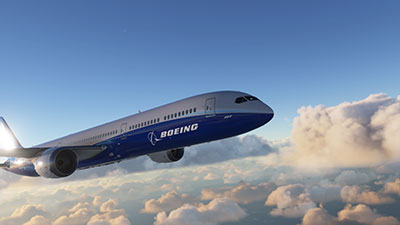 A Boeing 787 in flight over clouds.  Screenshot from the new Microsoft Flight Simulator (MSFS) 2020 release.