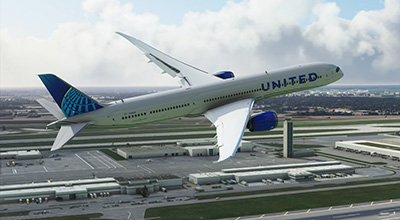 United 787 livery displayed in MSFS 2020.