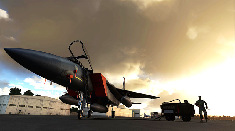 The DC Designs F-15 C on the ground in Microsoft Flight Simulator 2020.