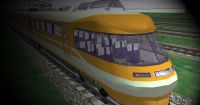 Yellow locomotive in Microsoft Train Simulator available to download from this section.