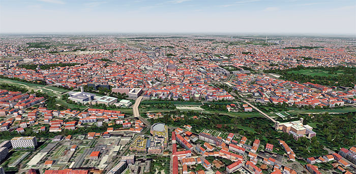 Over the city of Munich.