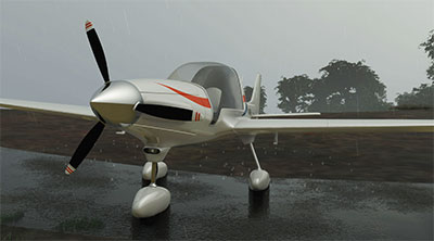 The MX1 in the rain in MSFS.