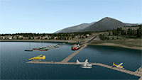 Airport runway with harbour docking for seaplanes.