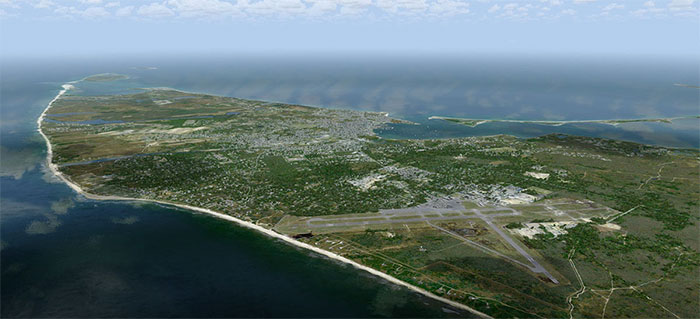Nantucket Island with airport in foreground.