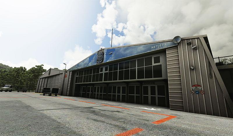 The Netjetz hangar at St. Tropez airport.