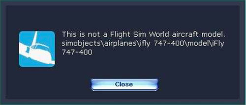This is not a Flight Sim World aircraft model error message.