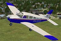 Piper Warrior II PA28 in flight.