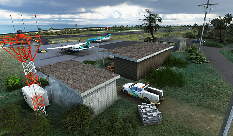 PHLU Kalaupapa Airport overview after loaded up in Microsoft Flight Simulator.