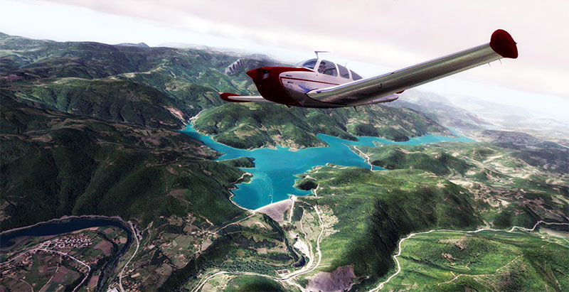 Aircraft flying over lakes and mountains while using one of the scenery packs in P3Dv4.
