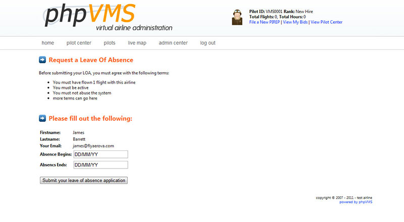 Image shows one of the phpVMS admin screens.