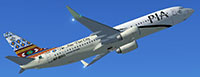 PIA 737-800 in flight with repaint applied.