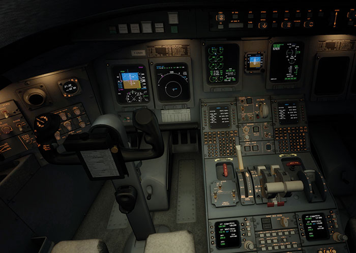 Pilot's seat at night.