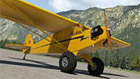 Piper Cub at airport in X-Plane 11.