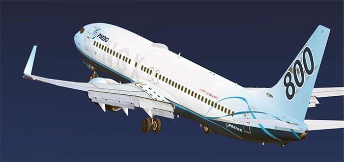 PMDG 737 taking off.