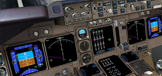 The cockpit of a PMDG 747 - it's quite realistic.