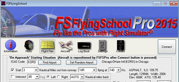 Screenshot from the FSFlyingSchool program