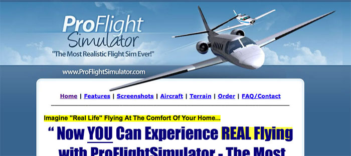 Proflightsim website screenshot