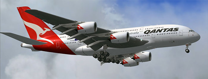 Qantas Airbus A380 in FSX (third party addon)