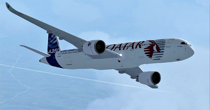 Qatar A350 in FSX while flying for a VA.