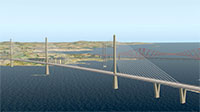 Queensferry road bridge crossing water.