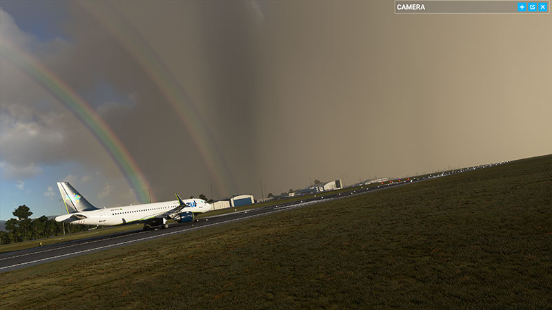 A rainbow displayed and demonstrated in the sim - a first for flight simulator.
