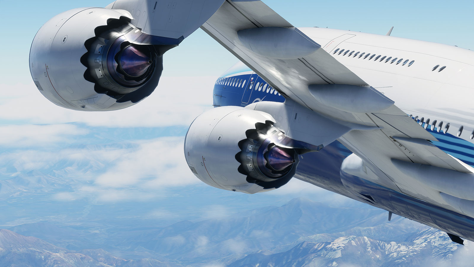 747 engine and wing at high altitude.