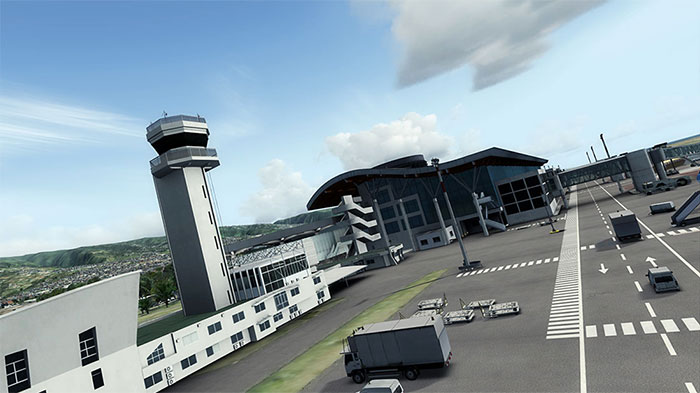 Terminal and control tower at Reunion airport.