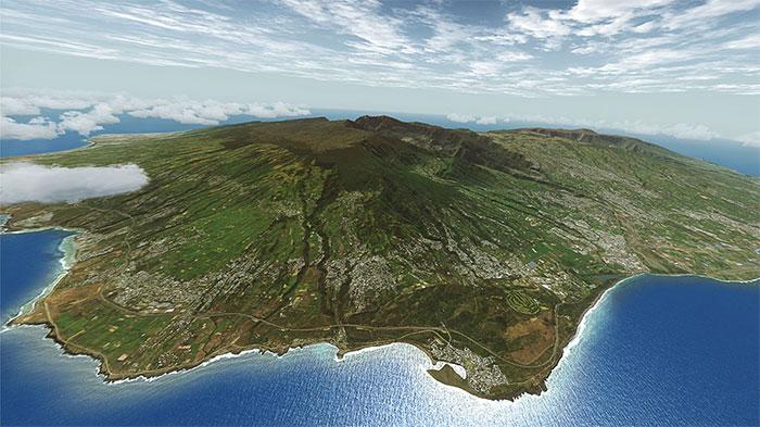 Reunion island from an aircraft