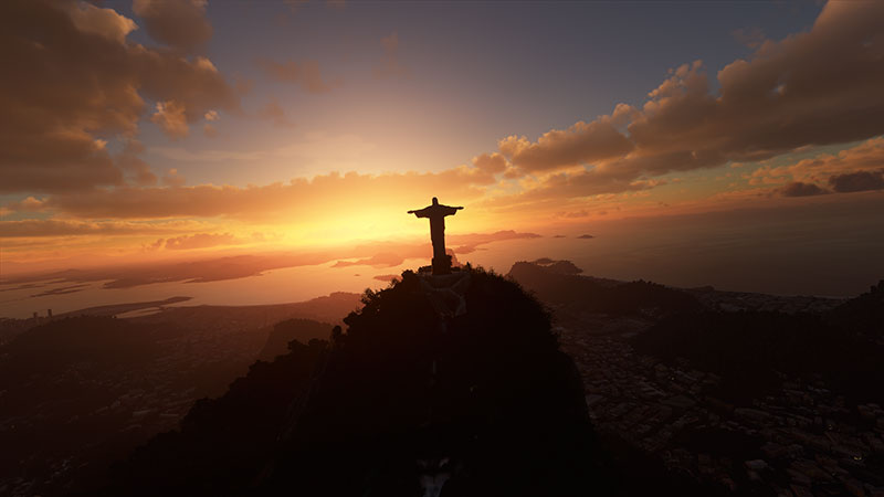 Christ The Redeemer statue over Rio in Microsoft Flight Simulator.
