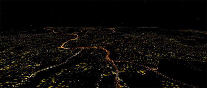 Screenshot show road lighting with the add-on used in X-Plane.