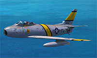 F-86 Sabre in flight in P3Dv4.