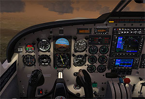 Saratoga cockpit at dusk