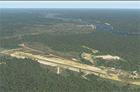 Aerial view of the runway and surrounding area.