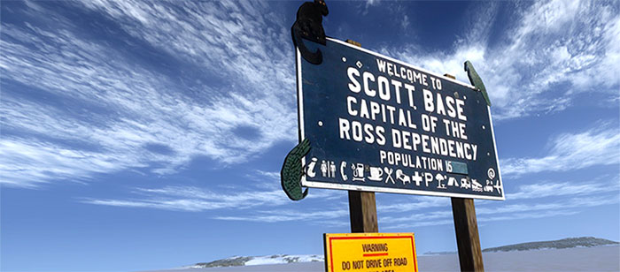 Scott Base welcome sign