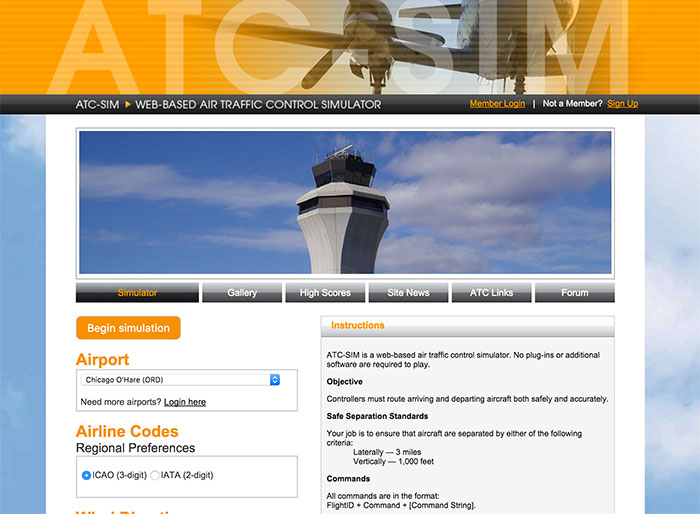 Screenshot from the ATC-Sim website
