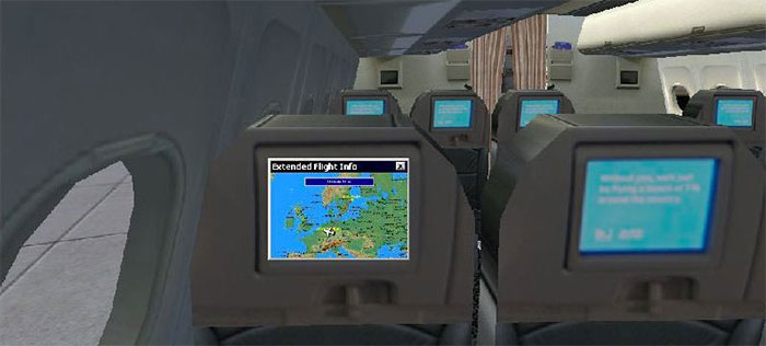 In-seat display showing flight information