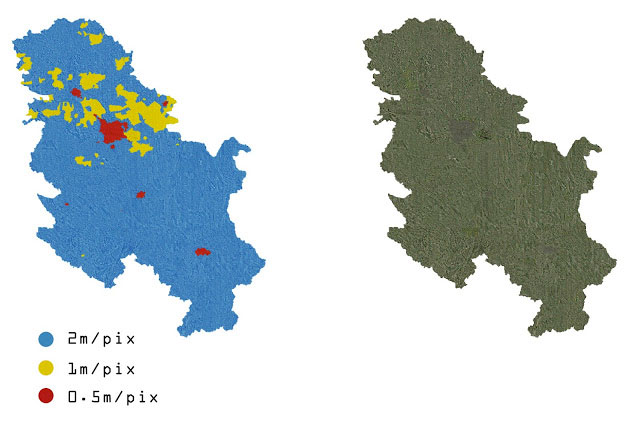 Serbia coverage map.