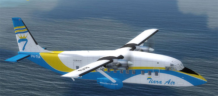 Shorts aircraft in the air