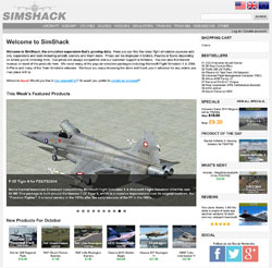 Screenshot of the SimShack.net website, October 2018