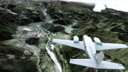 Flying over the photoreal scenery in P3Dv4.