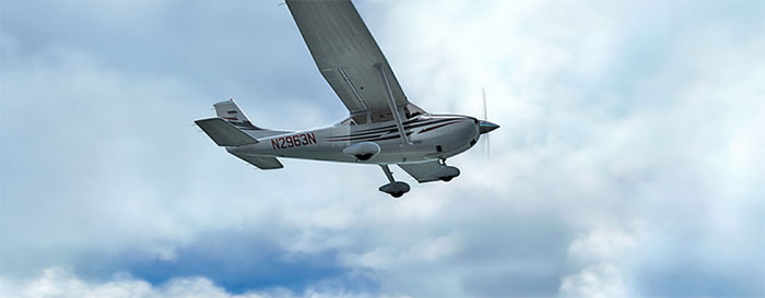 Screenshot showing a Cessna and Soft Clouds from REX