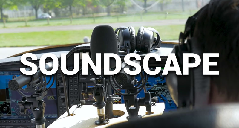 Microphones and recording equipment inside a light aircraft.