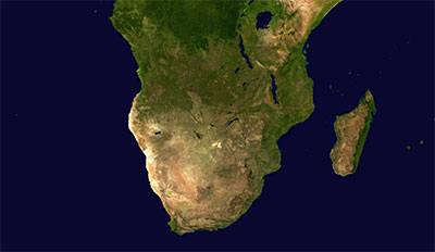 Map (satellite) of Southern Africa where the tiles in this file cover.